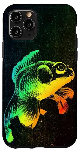 iPhone 11 Pro BLACK MOOR GOLDFISH Colorful Rainbow Vintage Retro Phone Case