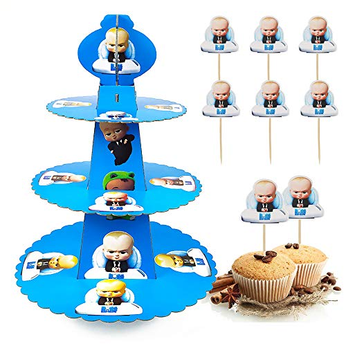 Baby Boss Cake Topper Birthday Party Supplies 3 Tier Cakes Stand Decoration Set Cupcake Topper Dessert Cupcake Holder Party Favors for Kids Boys Girls Birthday Party and Baby Shower