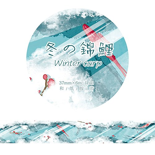 YFB Handbemalte alten Stil und Papierband vier Jahreszeiten Koi Fee Kran chinesischen Stil Tinte diy Hand Konto 37mm Band-Winter, Koi
