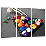Nachic Wall - Large 3 Piece Wall Art Colorful Billiard Balls in Gray Pool Table Pictures Leisure Sport Poster Canvas Print for Game Room Club Bar Home Decor Stretched and Framed Ready to Hang