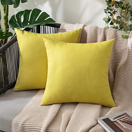 MIULEE Outdoor Waterproof Throw Pillow Covers Water Resistant Garden Chair Cushion Case for Garden Couch Pet Sofa Linen Home Decoration 18x18 Inches 45x45 cm Pack of 2 Yellow