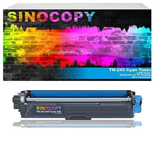 SinoCopy Cyan XXL Toner für Brother TN-242 TN-246 HL-3142 3152 3172 CW CDW DCP9017CDW Color 2.200 Seiten TN 242 TN-242 TN 246 TN-246
