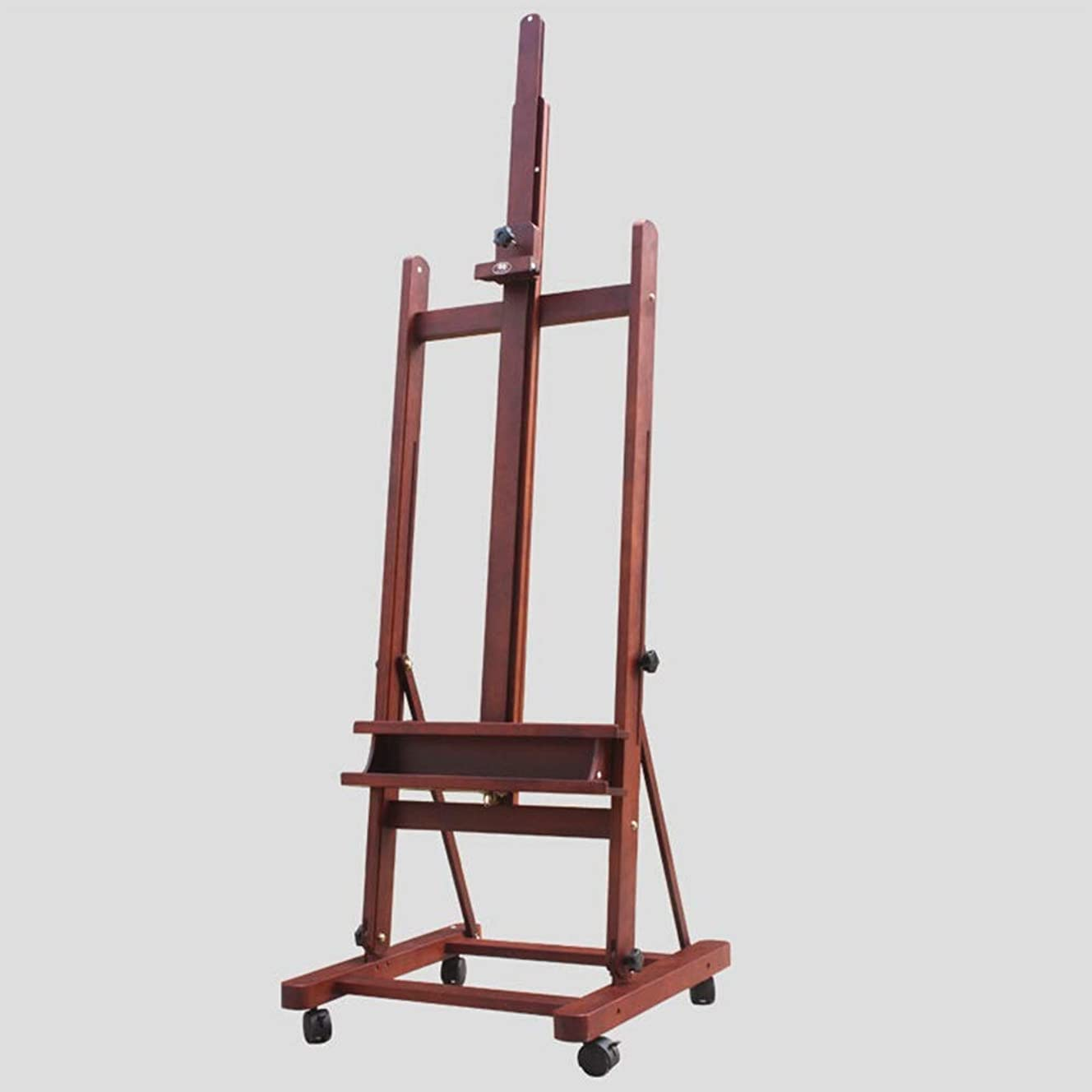 冷酷なレンチ展開する安定したイーゼル 調節可能なホイールの高さとイーゼルソリッドウッドセットの2.3メートルの木製イーゼル絵画ウォルナットイーゼルリフティング油 幅広い用途 (色 : 褐色, Size : One size)