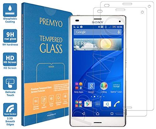 PREMYO 2 Stück Panzerglas Schutzglas Bildschirmschutzfolie Folie kompatibel für Sony Xperia Z3 Compact Blasenfrei HD-Klar Gegen Kratzer Fingerabdrücke