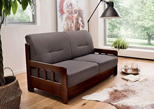 lifestyle4living Schlafsofa in Grau/Braun zum Ausziehen - 2 Liegeflächen   Microfaser/Massivholz/Federkern   Gemütliches Sofa mit Schlaffunktion im Landhaus-Stil