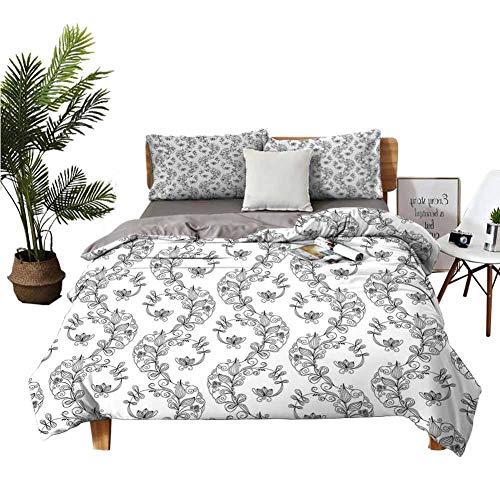 Dragon Vines Juego de ropa de cama de lujo, 4 unidades, sábanas de seda, hojas de palmeras, follaje subtropical, clima caliente, selva, selva, apartamento, dormitorio blanco y negro
