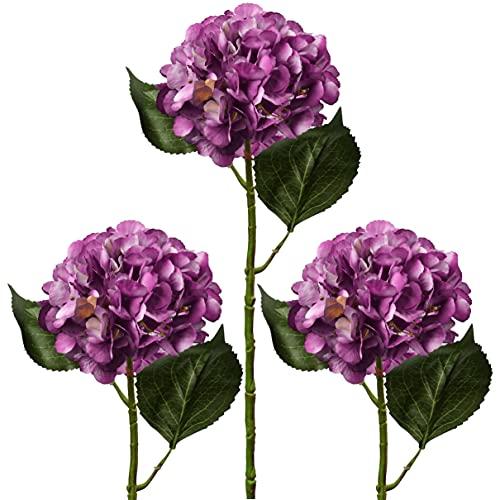 Hortensias artificiales de seda con flores falsas de hortensia, juego de 3 tallos de hortensias de 53 cm de largo para decoración del hogar, boda, fiesta