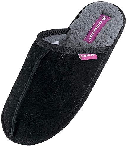 Dunlop - Damen Winter Warm Pantoffeln Hausschuhe mit Plüsch Innenfell Gefüttert (37 EU, 8034 Black)