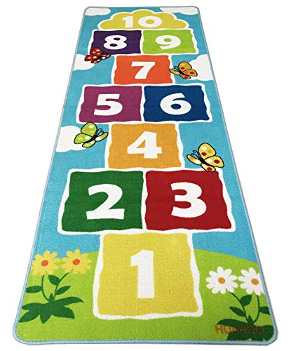 Hopscotch Rug Kids Play Space & Playroom Decor, Sturdy Woven Floor Rug Non Slip Children's Classroom Activity Rug for Boys & Girls Best Shower Gift (70.8 x 26 inch)