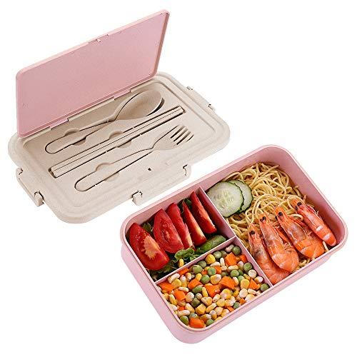 Speyang Bento Box Weizenstroh Brotzeitbox, Brotdose Bento 3 Fächer, Lunchbox mit Besteck Auslaufsicher, Brotbox Schule Kinder Vesperdose, Erwachsene, Mikrowelle Heizung, BPA Frei (pink)