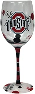 Ohio State Buckeyes Scarlet, Black and Gray Hand Painted Wine Glass