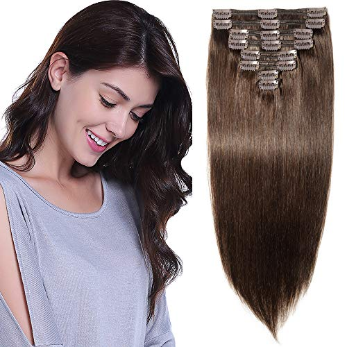 Extension Cheveux Naturel a Clip Maxi Epaisseur Extensions Cheveux Clips Naturel - Remy Hair - 8 Pcs Clip in Human Hair Extensions Double Weft (#2 CHATAIN FONCE, 30CM 115G)