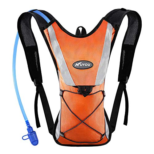 KUYOU Hydration Pack with 2L Hydration Bladder Water Rucksack Backpack Bladder Bag Cycling Bicycle Bike/Hiking Climbing Pouch (Orange)