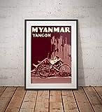 AZSTEEL Poster Myanmar - Yangon - Trishaw - Fine Art Print