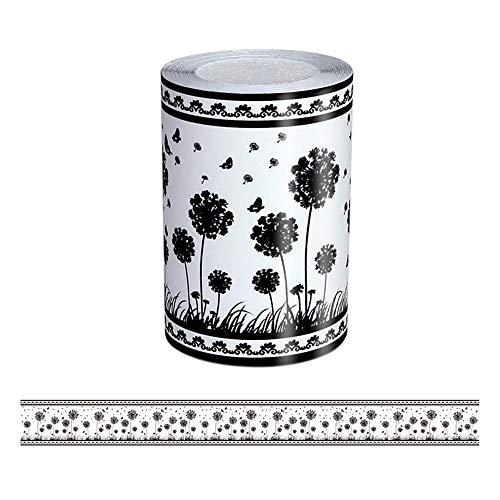 Borde del papel pintado Diente de león negro Auto Adhesivo del Papel Pintado del PVC Cenefa autoadhesiva para decoración de pared de...