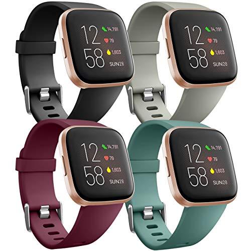 Ouwegaga Weiches Silikon Ersatz Armband Kompatibel für Fitbit Versa Armband/Fitbit Versa Lite Armband/Fitbit Versa 2 Armband, Damen Herren Klein Schwarz/Rot/Grau/Kieferngrün