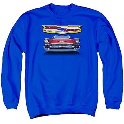 Chevrolet Autos 1957 Chevy Bel Air Classic Car Grille Adult Crewneck Sweatshirt Blue