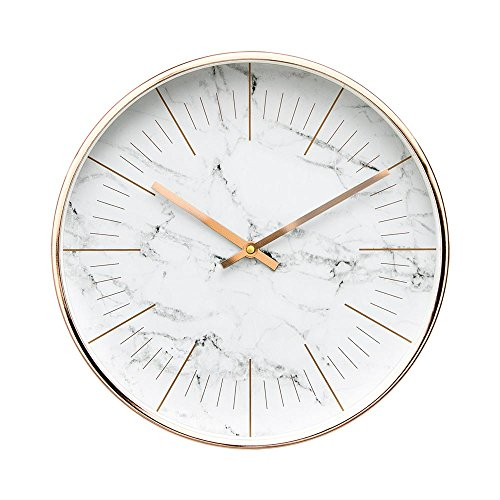 """Luxury Modern 12"""" Silent Non-Ticking Wall Clock with Rose Gold Frame (Marble"""