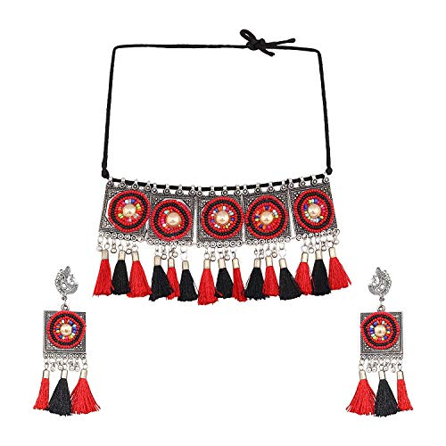 Indian Ethnic Silver Oxidized Bollywood Fashion Handmade Tribal Afghani Gypsy Statement Long Sweater Choker Necklace Jewellery (red)