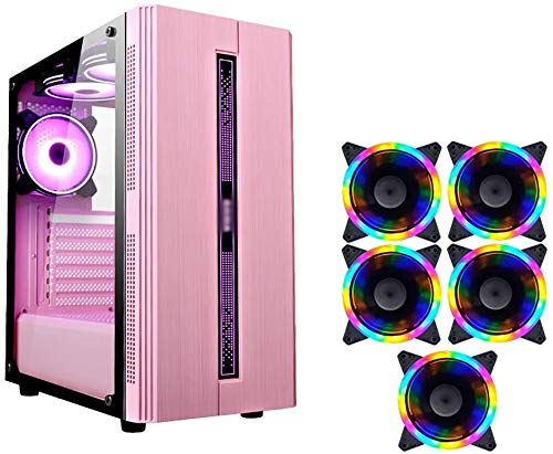 Wyl PC Gaming IR? Uso, Mid Tower ATX/M-ATX/ITX PC Caja de computadora, Lado Transparente, Configurar Fan Colorido, para computadora de computadora PC (Color : Pink, Size : 5 Fan)