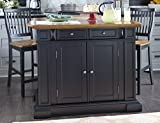 Home Styles Large Kitchen Island Set with Two Matching Stationary Slat back Stools with Antique Black finish and Distressed Oak Top, Extendable Breakfast Bar, Open Storage and Shelves and Drawers