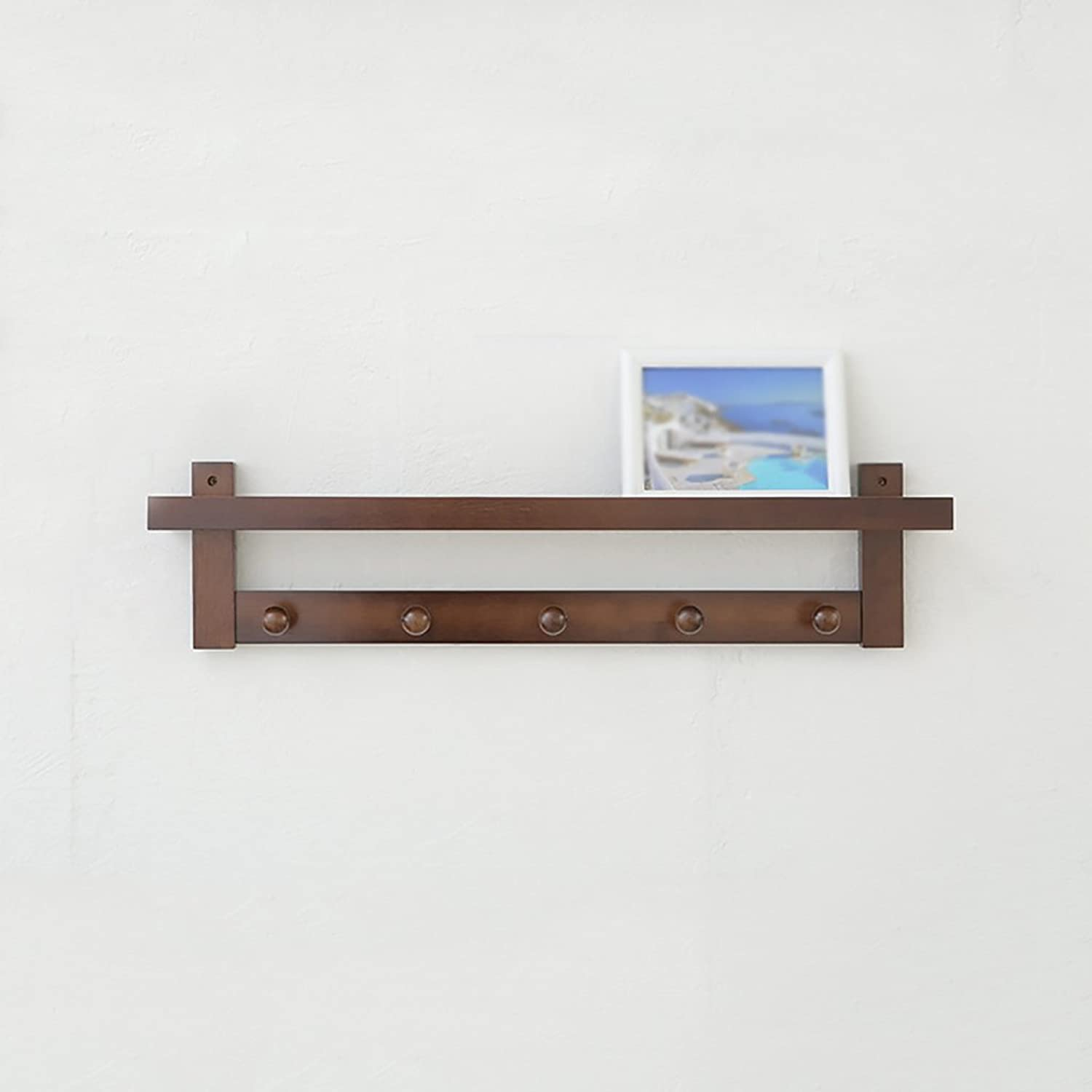 Multi-Functional Brown Wall Coat Rack, Wall Solid Wood Shelves Shelves, 3 Kinds of Size Options (Size   74  12  18cm)