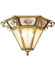 セラミックオール銅シーリングライト、豪華な別荘の寝室のライト、廊下の通路の照明、新古典派のシーリングライト、
