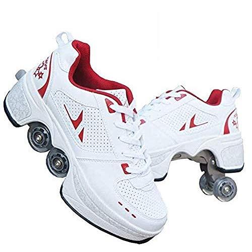 WEDSGTV Rollschuhe Madchen Verstellbar Schlittschuhe Riemenscheiben Schuhe Multifunktionale Verformung Quadlaufen Für Erwachsene Kind,Red-41