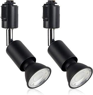 xydled ライティングバー用スポットライト LED電球付き E11 配線ダクトレール用器具セット 天井照明 2個セット (電球色 ブラック)