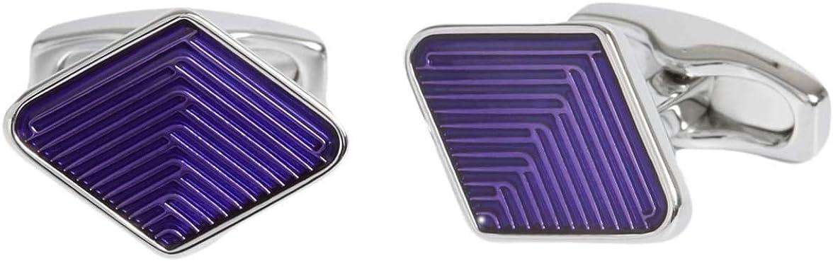 Simon Carter Mens Diamond Guilloche Enamel Weave Cufflinks - Purple