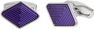 Mens Diamond Guilloche Enamel Weave Cufflinks - Purple