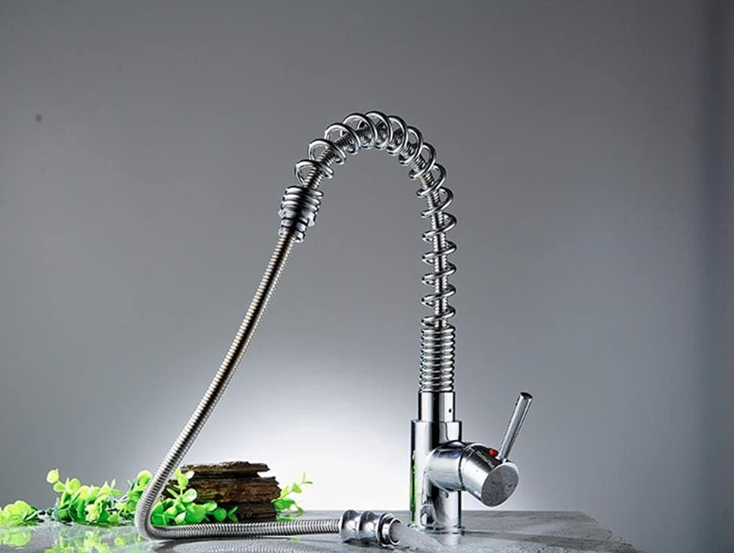 Full Copper Chrome Spring Style Pull-type Cold and Hot Mixing Water Wash Faucet Home Hotel Kitchen Sink Tap