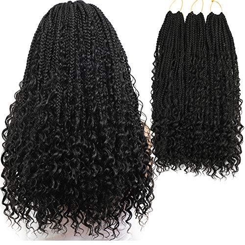 Box Braids Crochet Braids Curly Ends Goddess Box Braids Crochet Hair Synthetic Crochet Braids Hair Extensions 120 Strands (20 Inch, 1B)