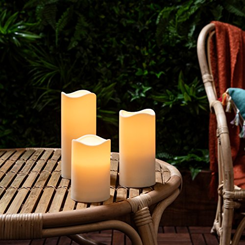 Lights4fun 3er Set LED Kerzen für Außen Timer - 3