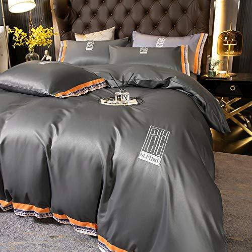 Bedding-LZ Juegos de sábanas 105 x 190,Lavar la Seda de Hielo de la Seda de la Seda del Verano del sueño de la Cama de Cuatro Piezas-L_Cama de 2.0m (4 Piezas)
