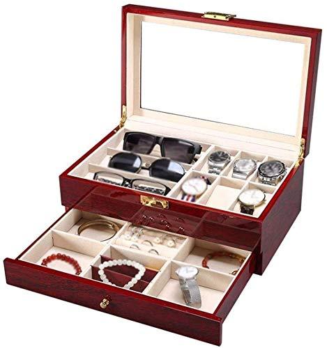 JSDKLO Uhr Display Aufbewahrungsbox Uhr Aufbewahrungsbox 6 Steckplätze Kirschholz Uhr Vitrine Schmuck Sammelbox Organizer Mit Glas Klar Ansicht Top Hält 6 Uhren