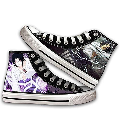 JPTYJ Uzumaki Naruto Uchiha Itachi/Akatsuki Zapatos Altos Unisex Zapatos Casuales de Anime Zapatos de Lona para Estudiantes Zapatillas de Deporte de la Escuela Secundaria C-42