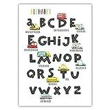 Pandawal ABC Poster für Kinder Auto Alphabet Kinderzimmer Deko Bild Junge Mädchen Wandbild zum lernen bunt Lernposter Buchstaben (50x70cm)