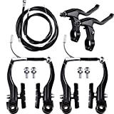 Complete Bike Brake Set, Black Front and Rear Bike MTB Hybrid Brake Inner and Outer Cables and Lever Kit Includes Callipers Levers Cables Black