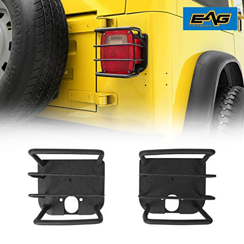 EAG Black Textured Off Road Taillight Tail Light Euro Guards Steel Protector Fit for 87-06 Wrangler TJ YJ