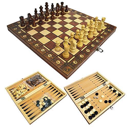 RENFEIYUAN 3 en 1 Juego de ajedrez de Madera magnética Juego de tableros de Gran tamaño Juego Plegable Dibujos de Viaje Juego de ajedrez y borradores para Adultos, niños 13.4 * 13.4 en ajedrez Damas