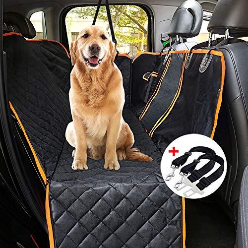 Boomersun Hundedecke für Auto Rückbank Kofferraumdecke Hundesitz Haustier Autoschondecke wasserdicht rutschfest Kratzfest Rücksitz 150*137cm mit Sicherheitsgurt Bürste sichtbar Netz für Auto/Van/SUV