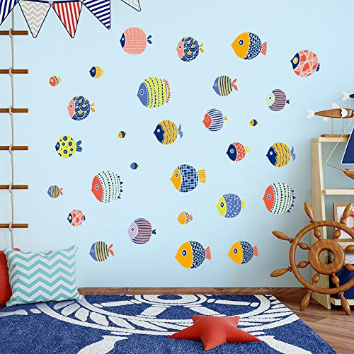 Cartoon Marine Visstickers Stickers Kinderkamer Slaapkamer Muurdecoratie Muurstickers Badkamer Toilet Tegel Glazen Stickers
