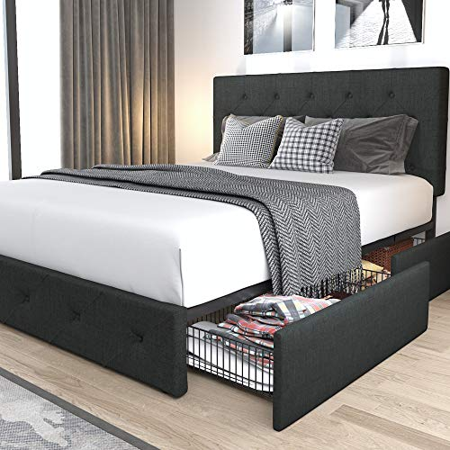 Allewie Queen Platform Bed Frame with 4 Drawers Storage and