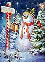 Cuneai DIY 5D ダイヤモンドペインティング クリスマス 冬 数字キット ラウンドダイヤモンドアート 雪だるま 夜 クリスタル刺繍 クロスステッチ ツール ホームウォールデコレーション ギフト 手芸用 30x40cm / 12x16インチ