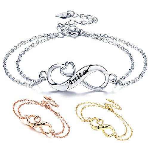 REIOT Pulsera de corazón infinito para mujer, pulsera con nombre de cuerda trenzada de plata de ley 925, pulsera personalizada con letras , regalo del día de la madre para mamá esposa niñas ella