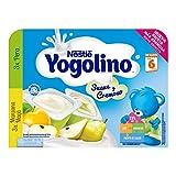 Nestlé Yogolino Postre lácteo Suave y Cremoso, 3 tarrinas de Pera y 3 tarrinas de Manzana, para bebés a partir de 6 meses - 6 tarrinas de postre lácteo de 60 gr