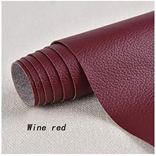 Kunstlederen patches / lappen / lappen van kunstleer, kunstleer, voor het repareren van banken, wijnrood, 1,37 × 0,5 m, speciale verpakking