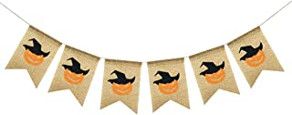 Uniwsh Pumpkin Faces Banner Burlap Bunting Happy Halloween Decorations Vintage Rustic Black and Orange Party Supplies
