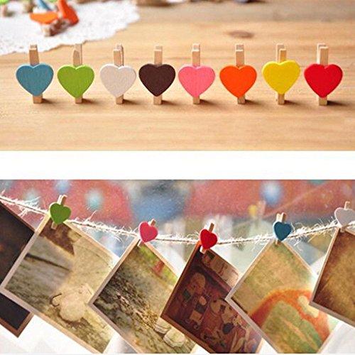Romote Mini Sweet Love Coeur Clips en bois Message Photo Card Holder papier Pegs décor Photographie couleur aléatoire (20 Pcs)
